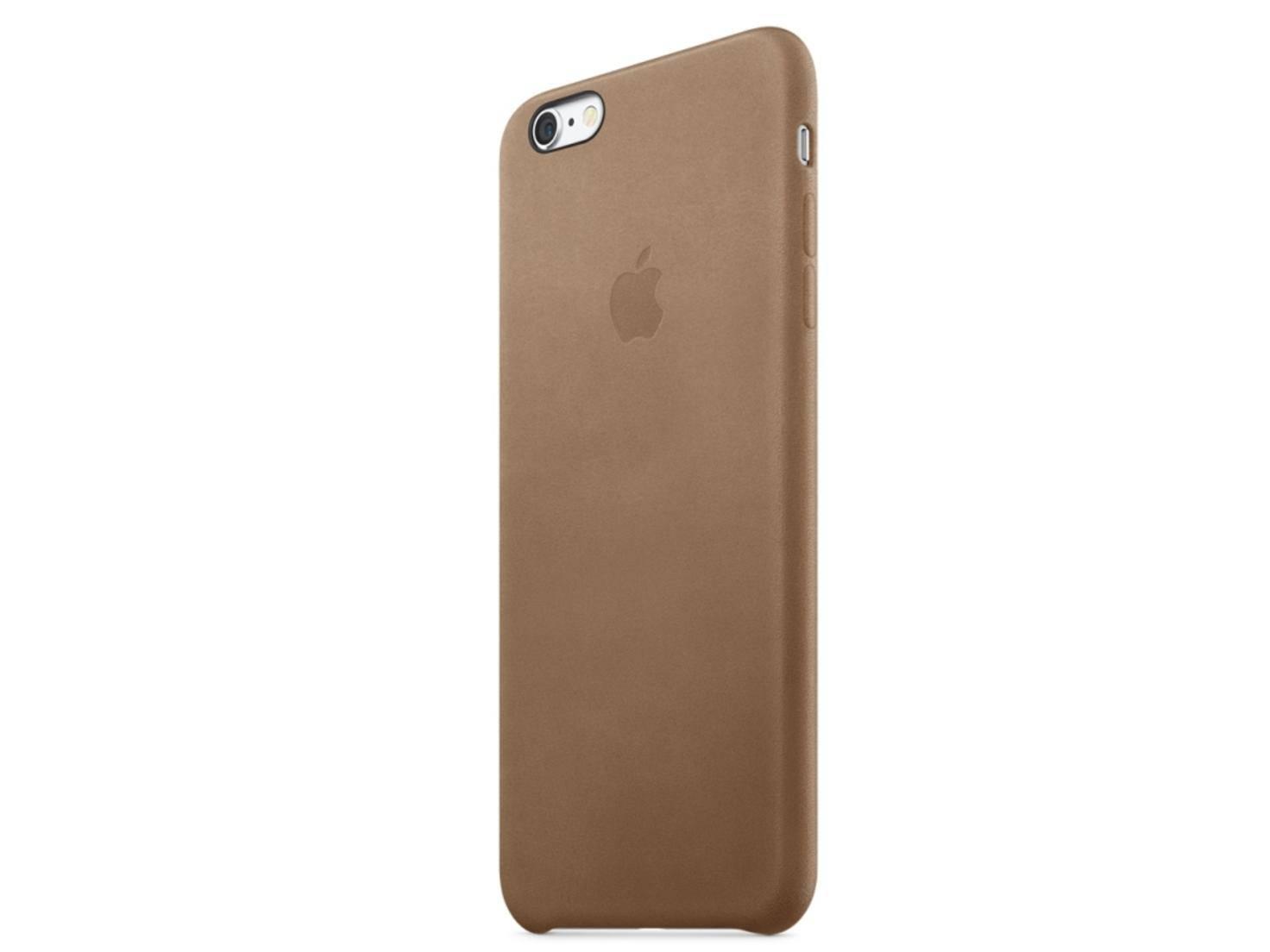 Das braune Leder Case wirkt elegant.