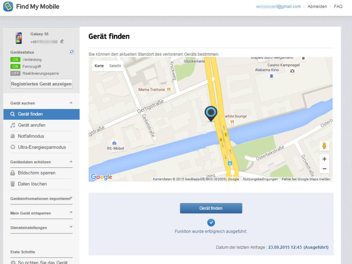 Smartphone Sicherheit FindMyMobile
