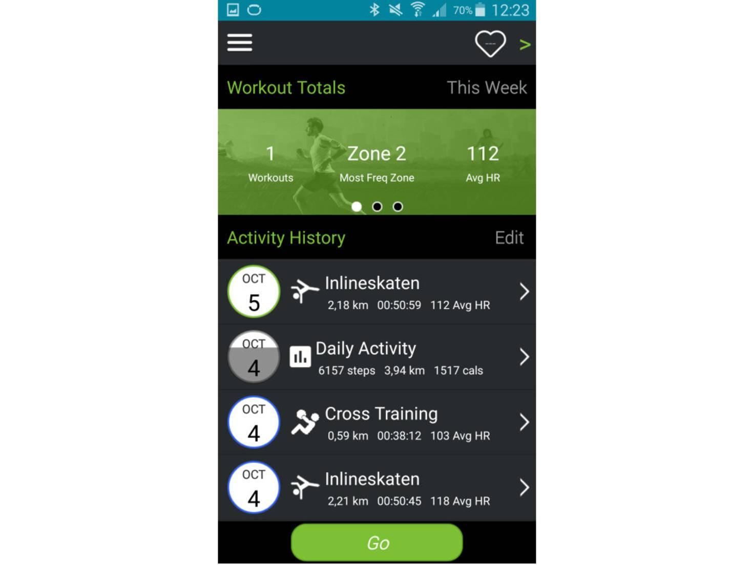 Der Start der Mio Go-App führt zur Datenhistorie.