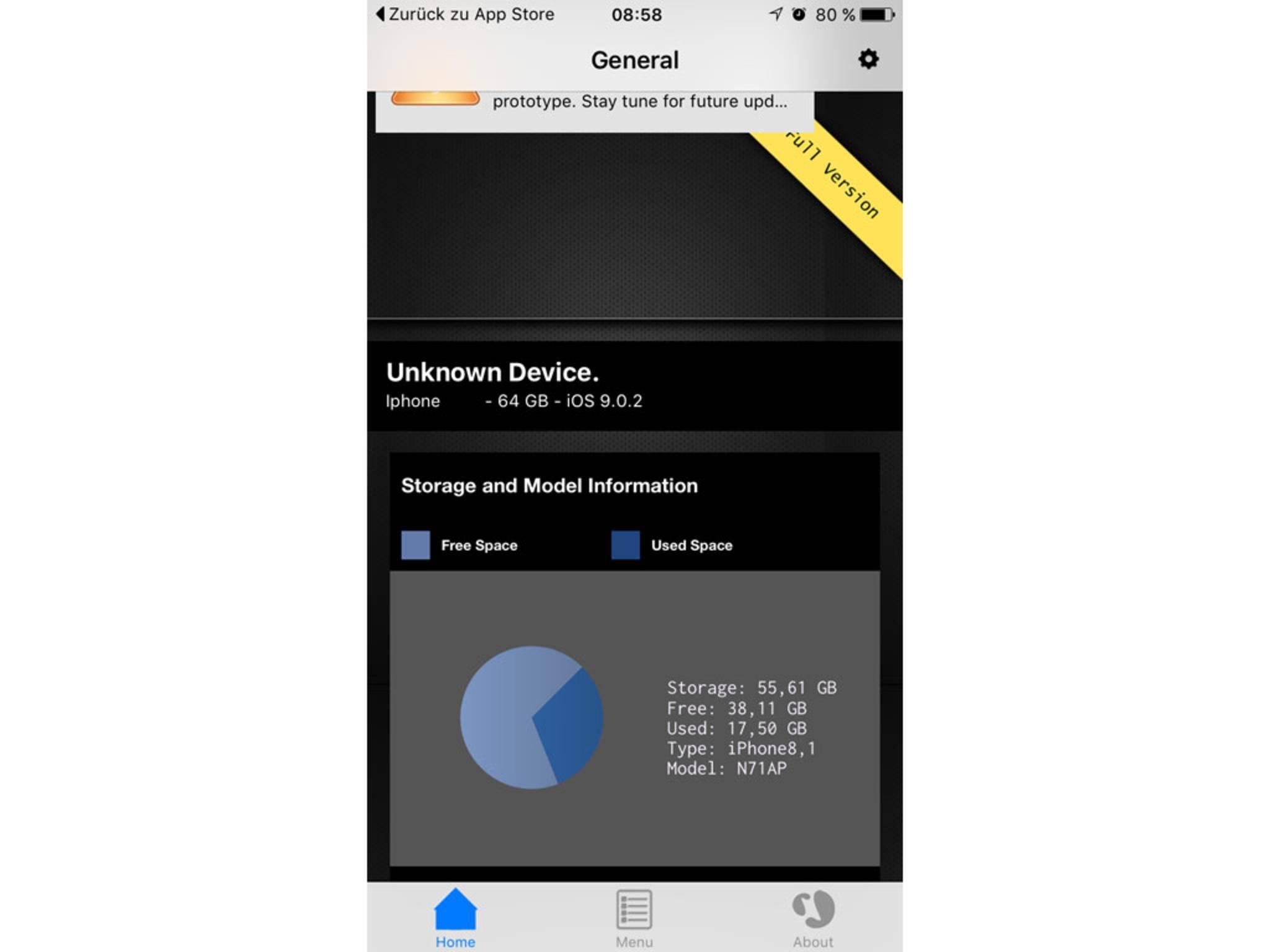 """Die Modellnummer """"N71AP"""" weist auf einen Samsung-Chip für das iPhone 6s hin."""