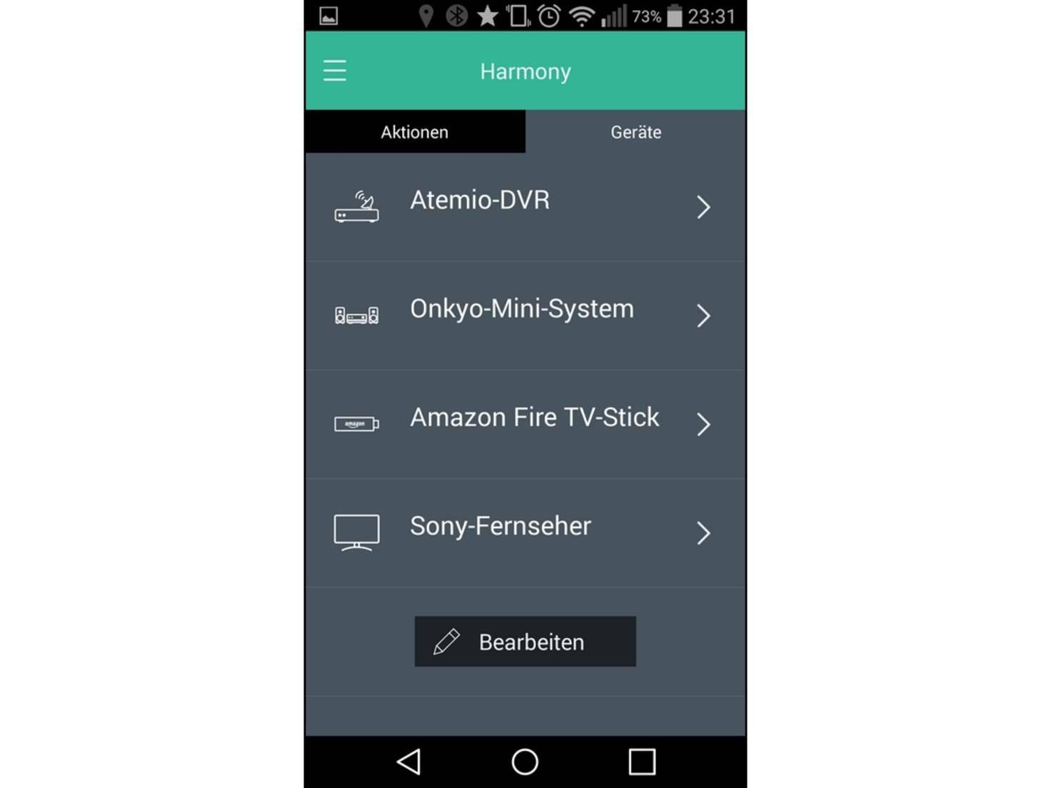 Über die Harmony-App lassen sich die Geräte einrichten.