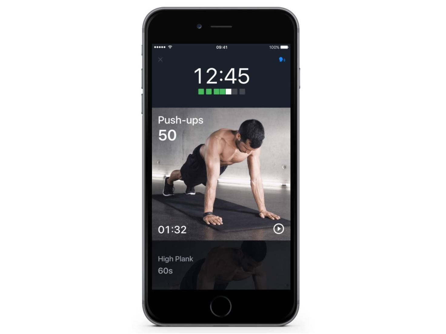 Sowohl bei den Workouts als auch bei den Einzelübungen führt ein Tipp aufs Vorschaubild ...