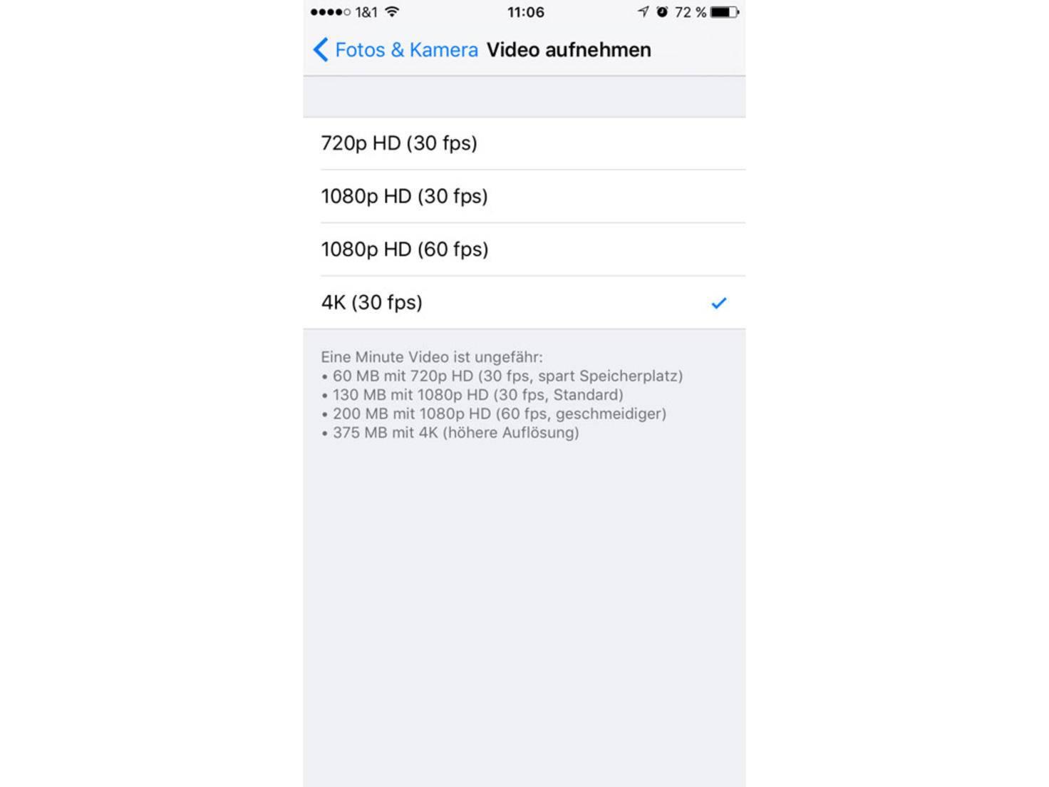 Zuallererst muss in den Einstellungen 4K (30 fps) ausgewählt werden.