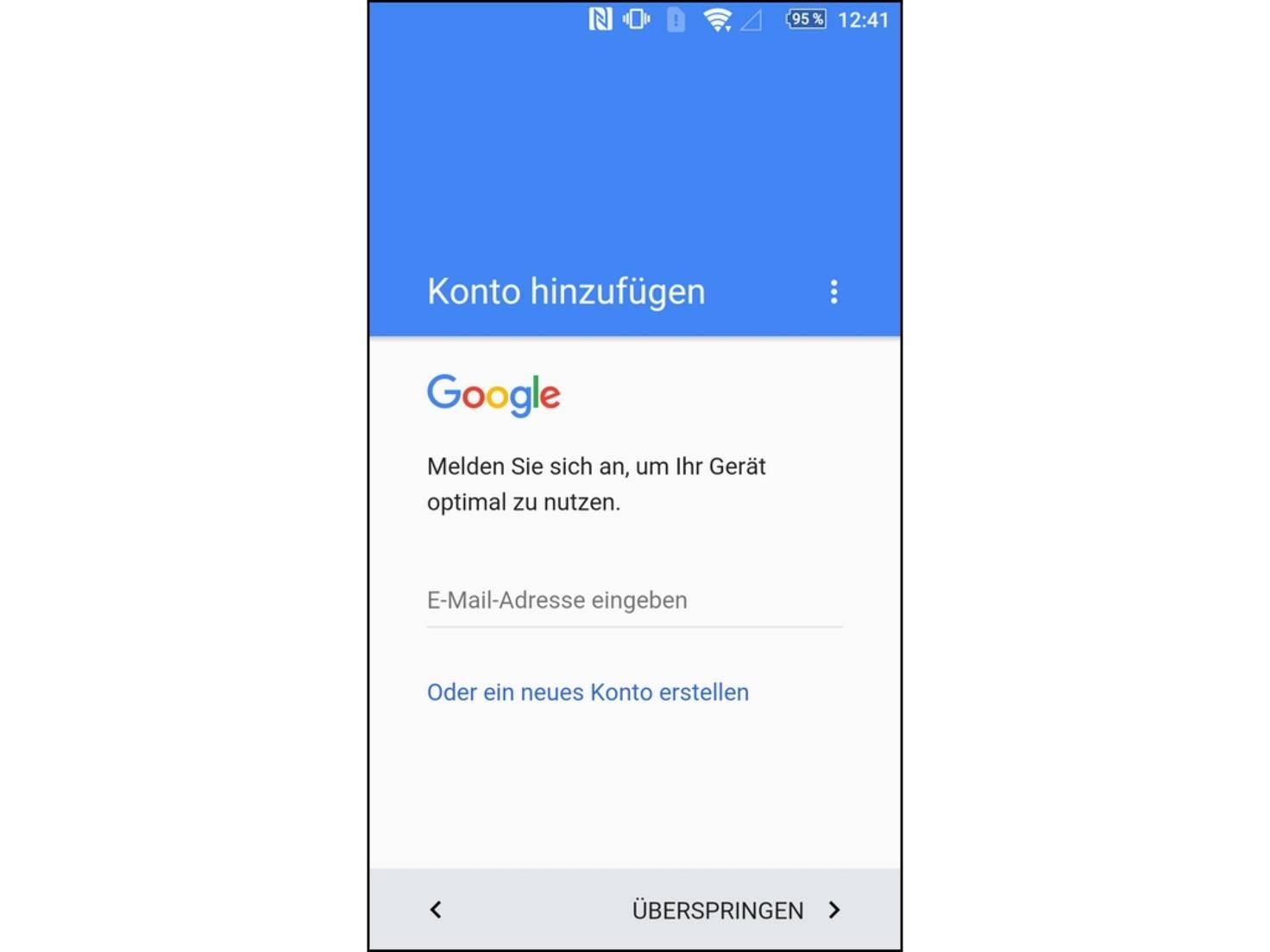 Wer das Smartphone ohne Google nutzen möchte, sollte auf die Anmeldung verzichten.
