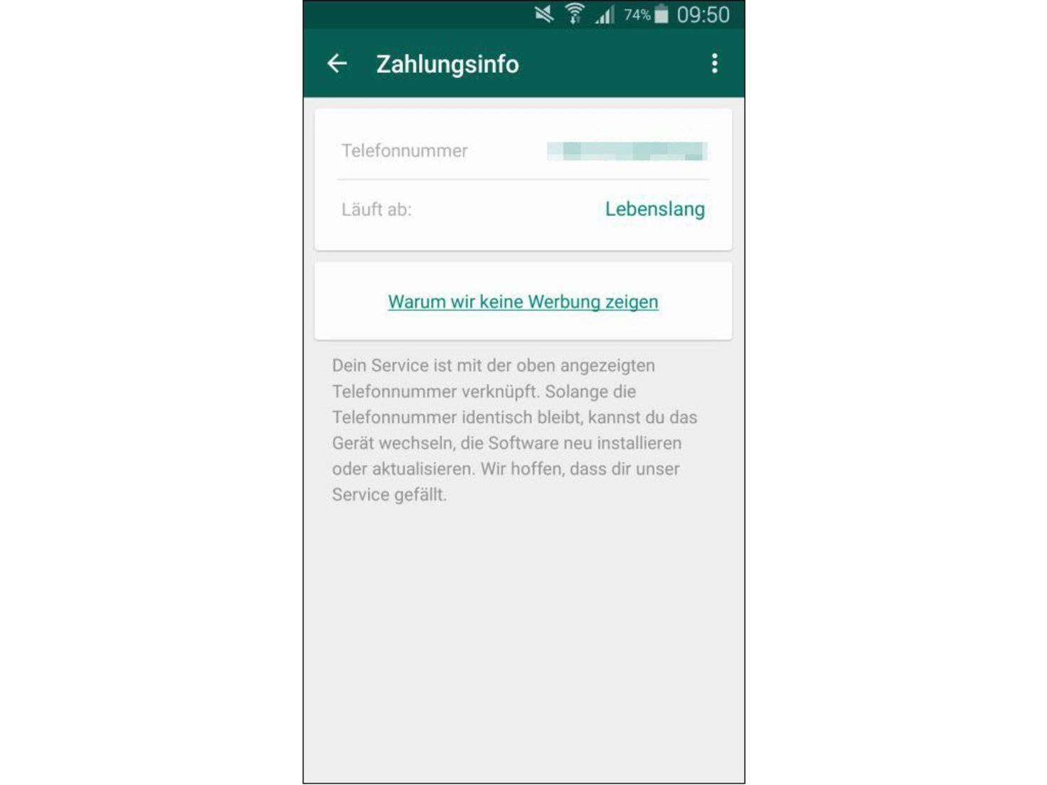 WhatsApp-lebenslang