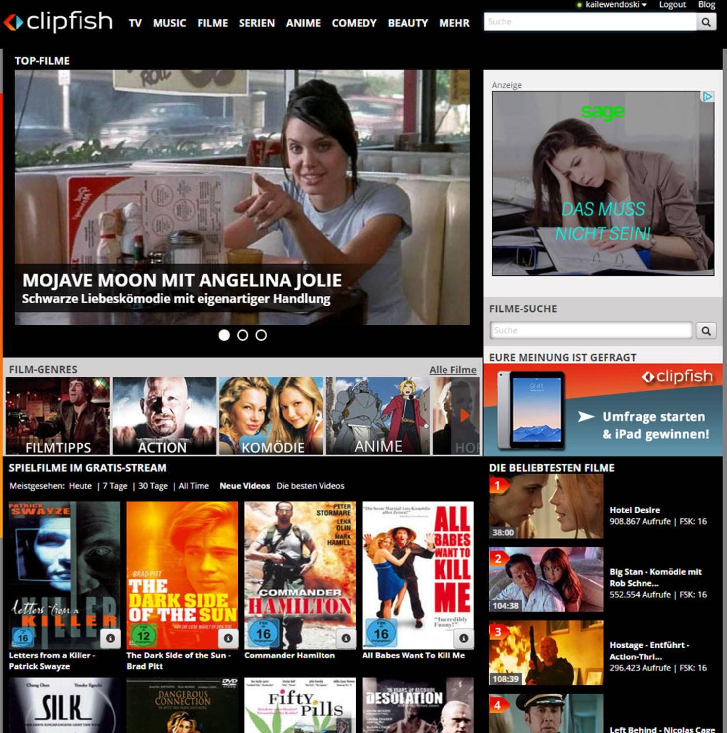 Kinofilme kostenlos im Internet.