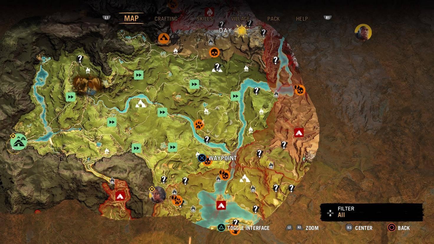 """Die Welt von """"Far Cry Primal"""" ist riesig: Hier nur ein kleiner Kartenausschnitt."""