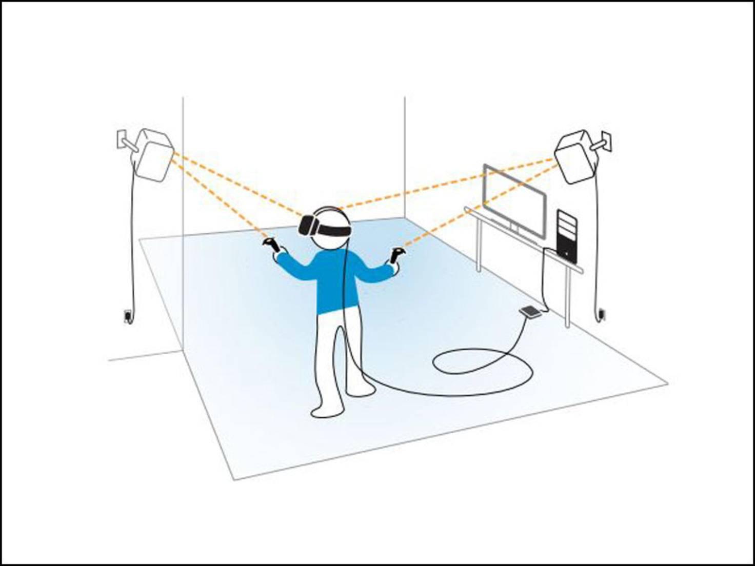 Die Base-Stations tracken die Bewegungen von Brille und Controllern im Raum.