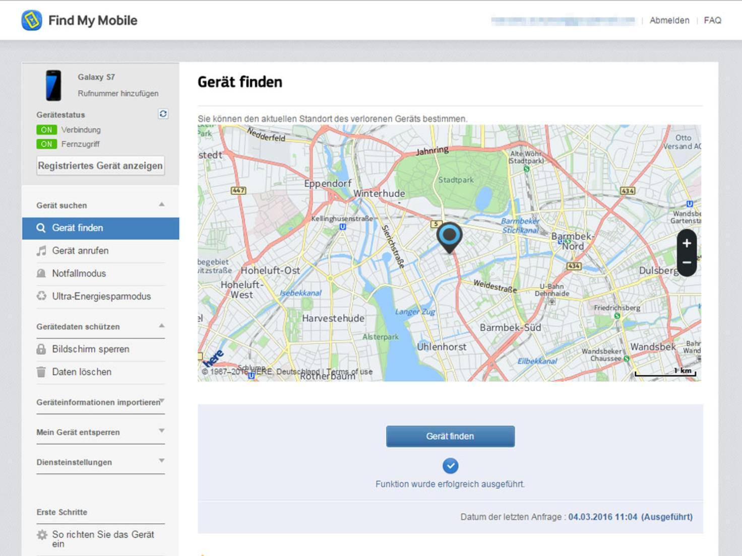Dann kann das verlorene Handy via Webseite geortet oder gesperrt werden.