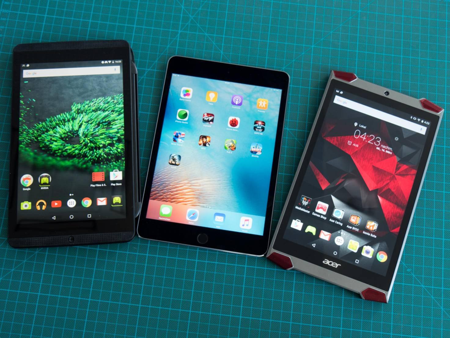 Nvidia Shield K1, iPad Mini 4 und Acer Predator 8.