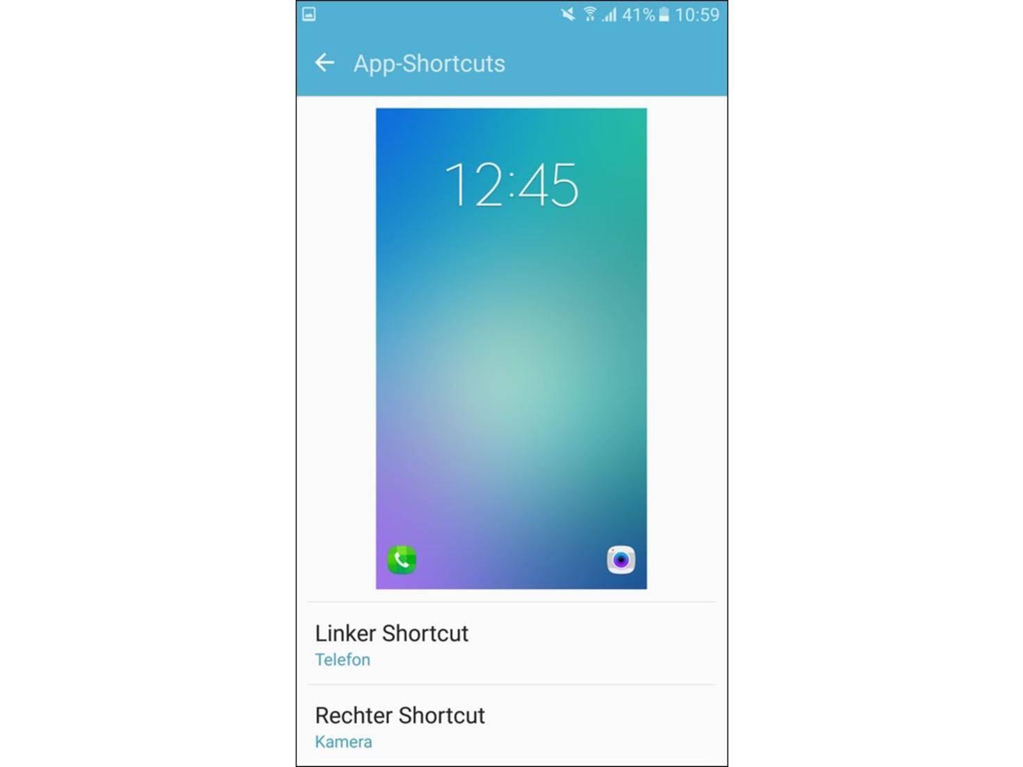 Zudem finden dort zwei App-Shortcuts Platz.