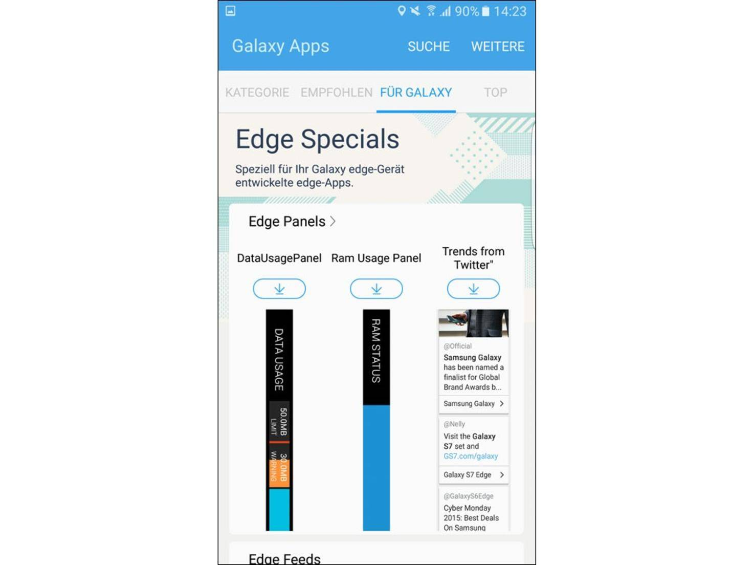 Weitere Paneele gibt's über Samsungs Galaxy App Store.