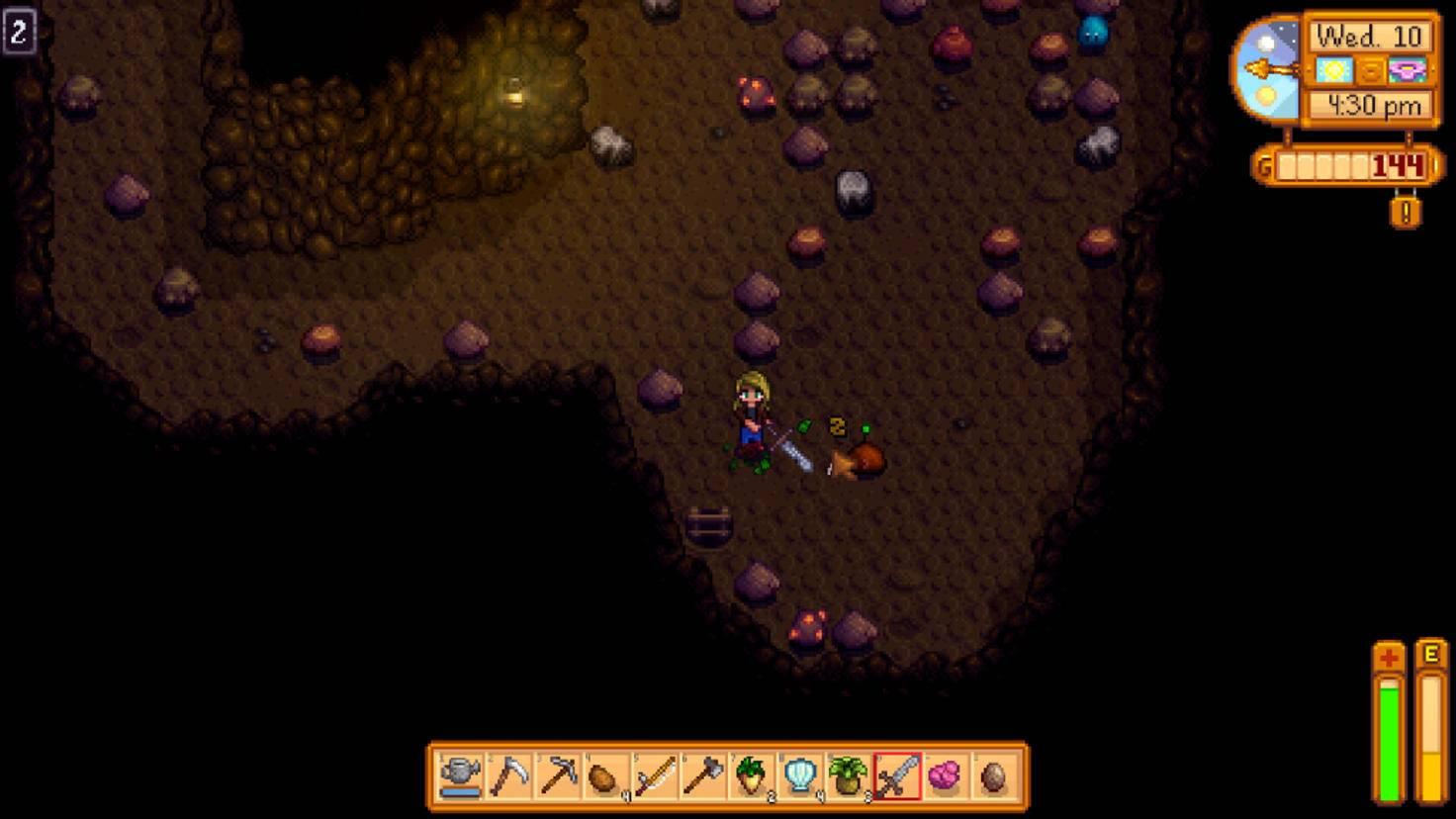 Höhlen und Minen sind zufällig generiert.