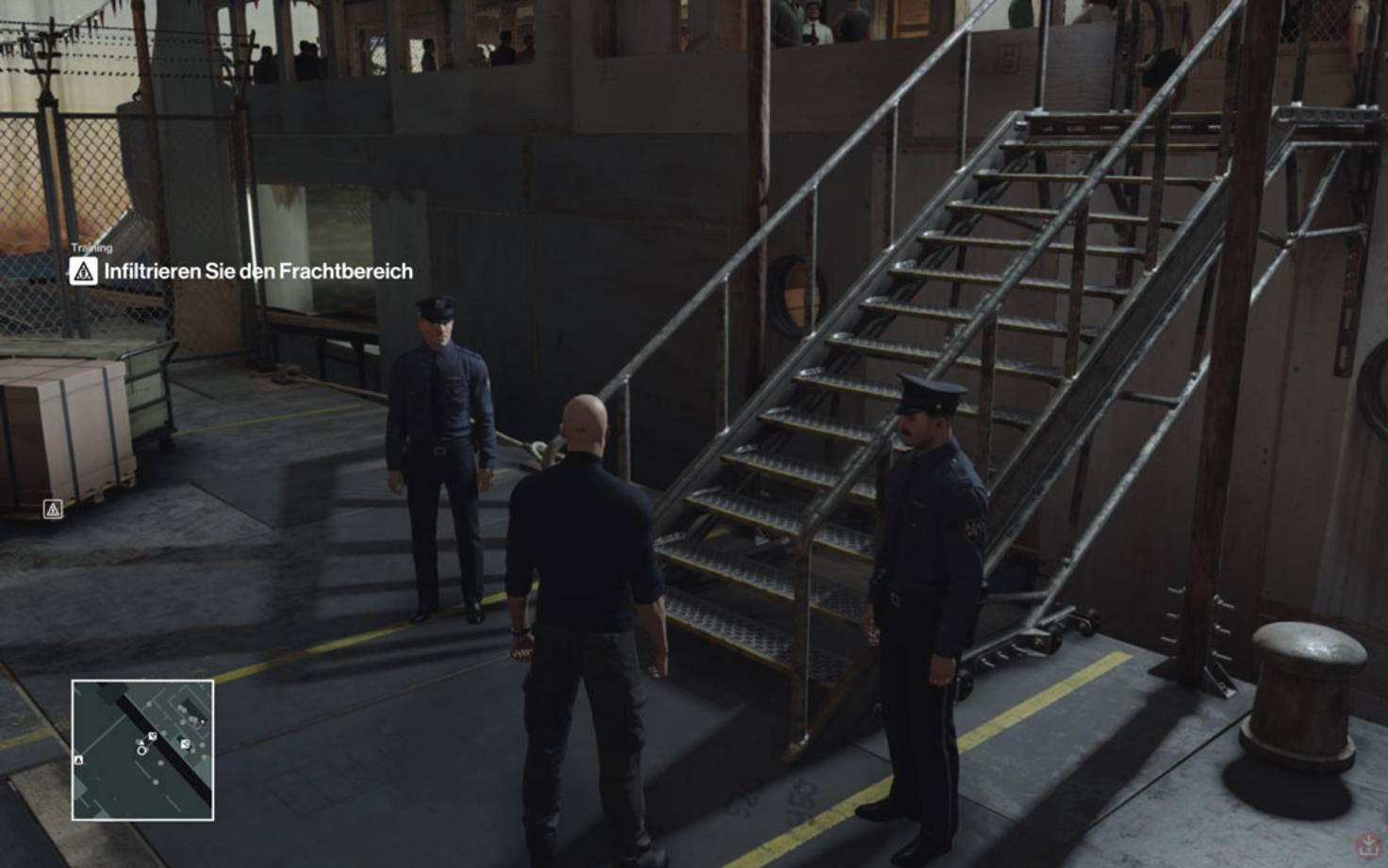 An der Gangway lassen die Wachen Dich nicht vorbei ...
