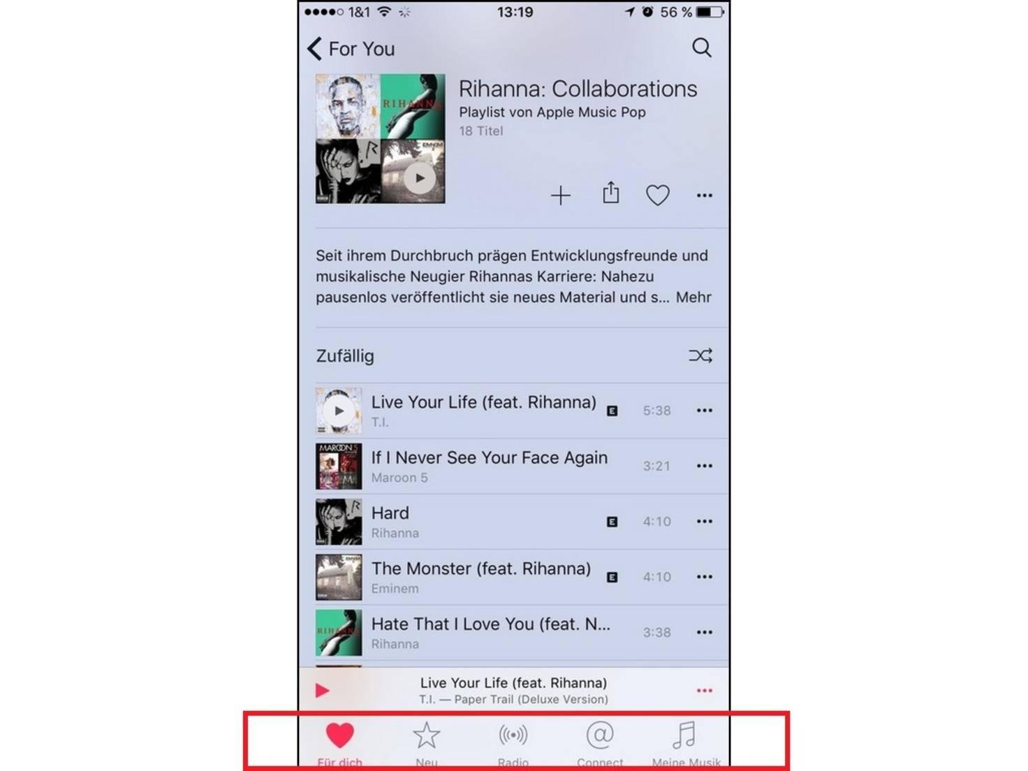 Zum Vergleich die Leiste in der iOS-Version von Apple Music.