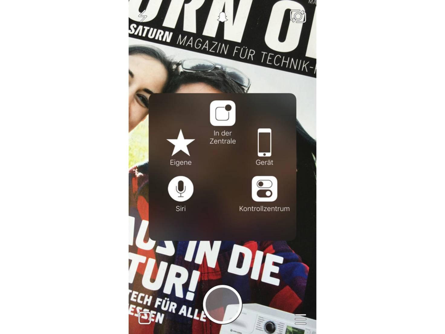 """In Snapchat klickst Du auf den AssistiveTouch-Button und wählst """"Eigene""""."""