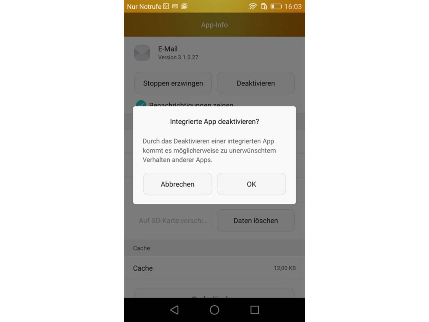 Nach Bestätigung der Sicherheitsfrage wird die App fortan versteckt.