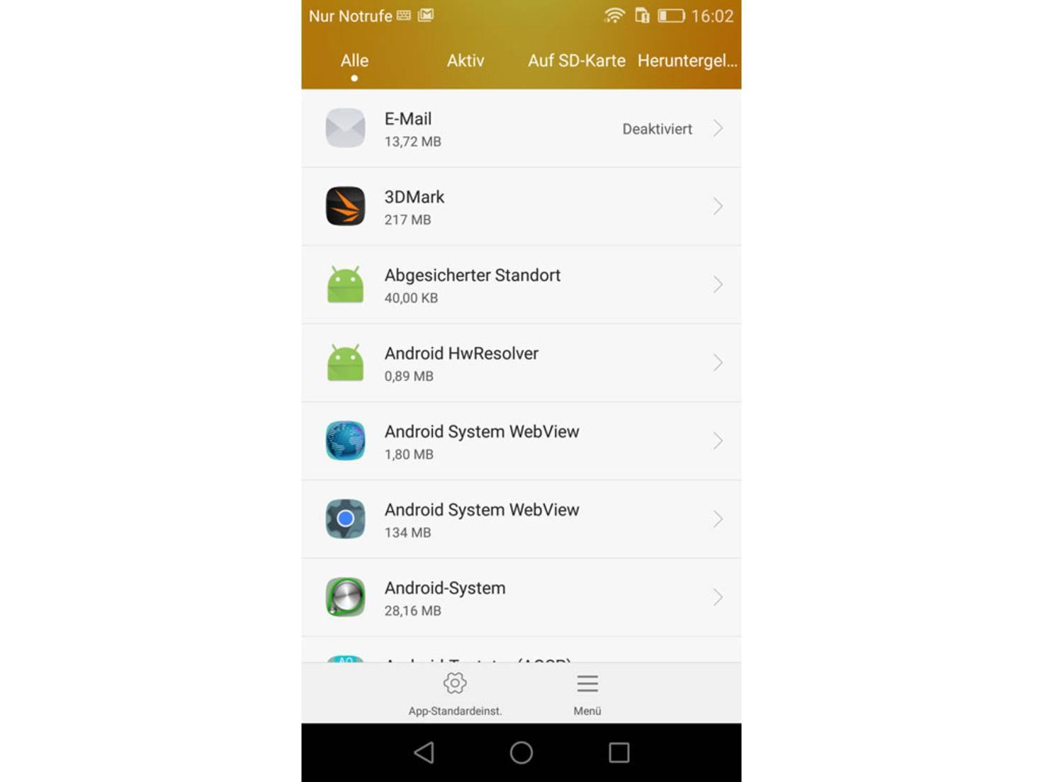 Klicke eine vorinstallierte System-App wie den Browser oder E-Mail an.
