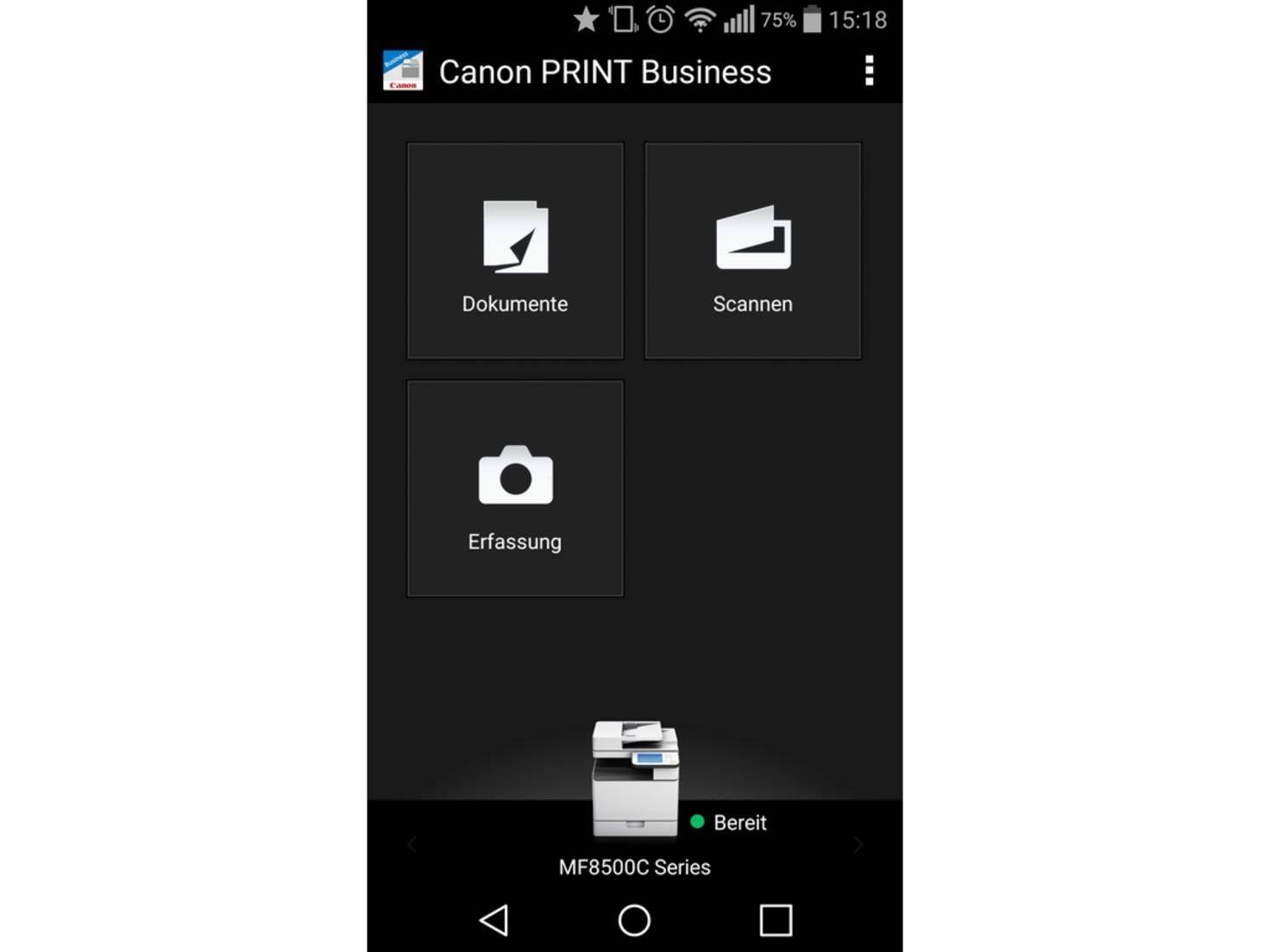Mit der Canon-App wird der Drucker im WLAN-Netz gefunden.