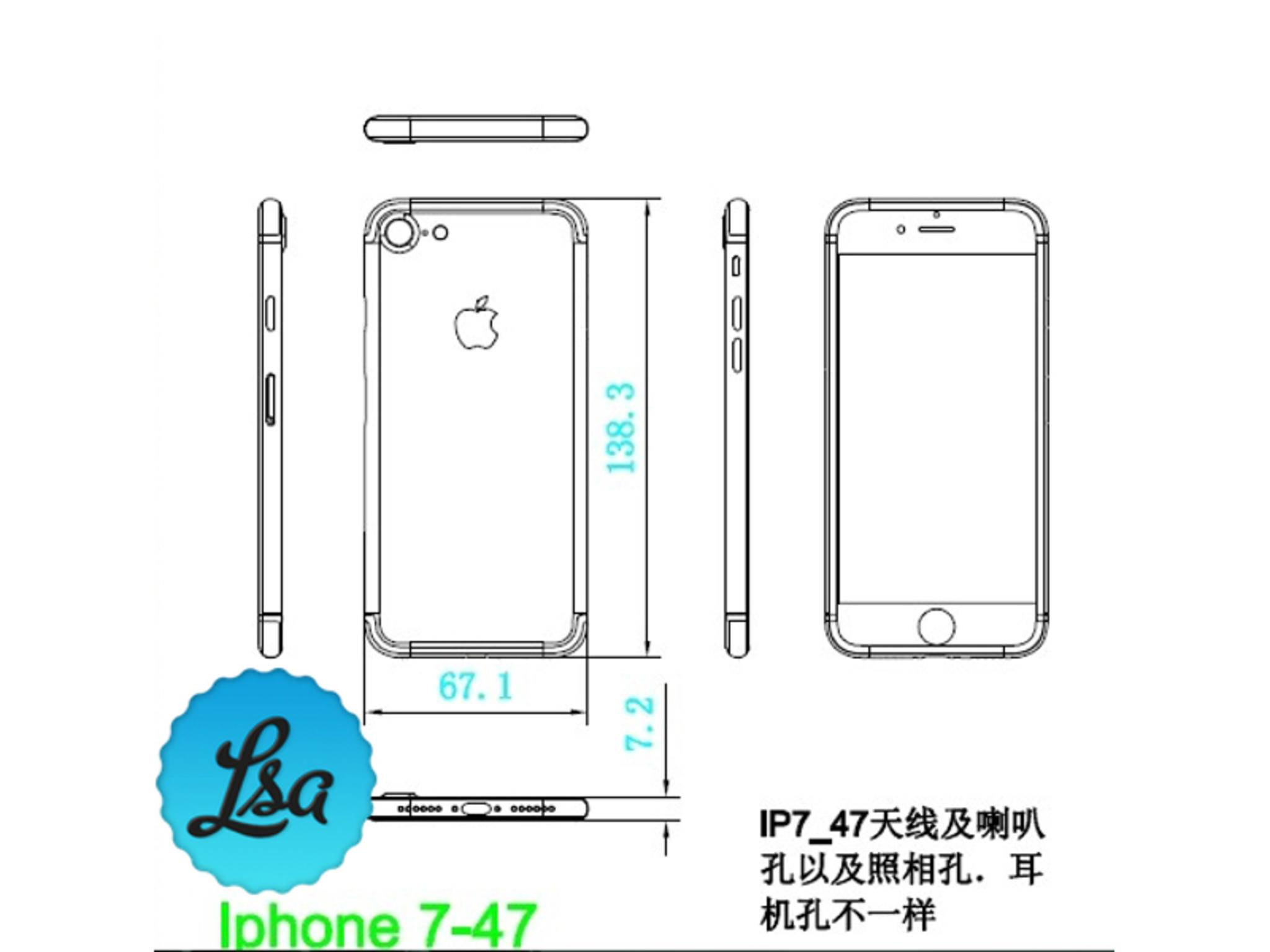 Angeblicher Bauplan des iPhone 7.