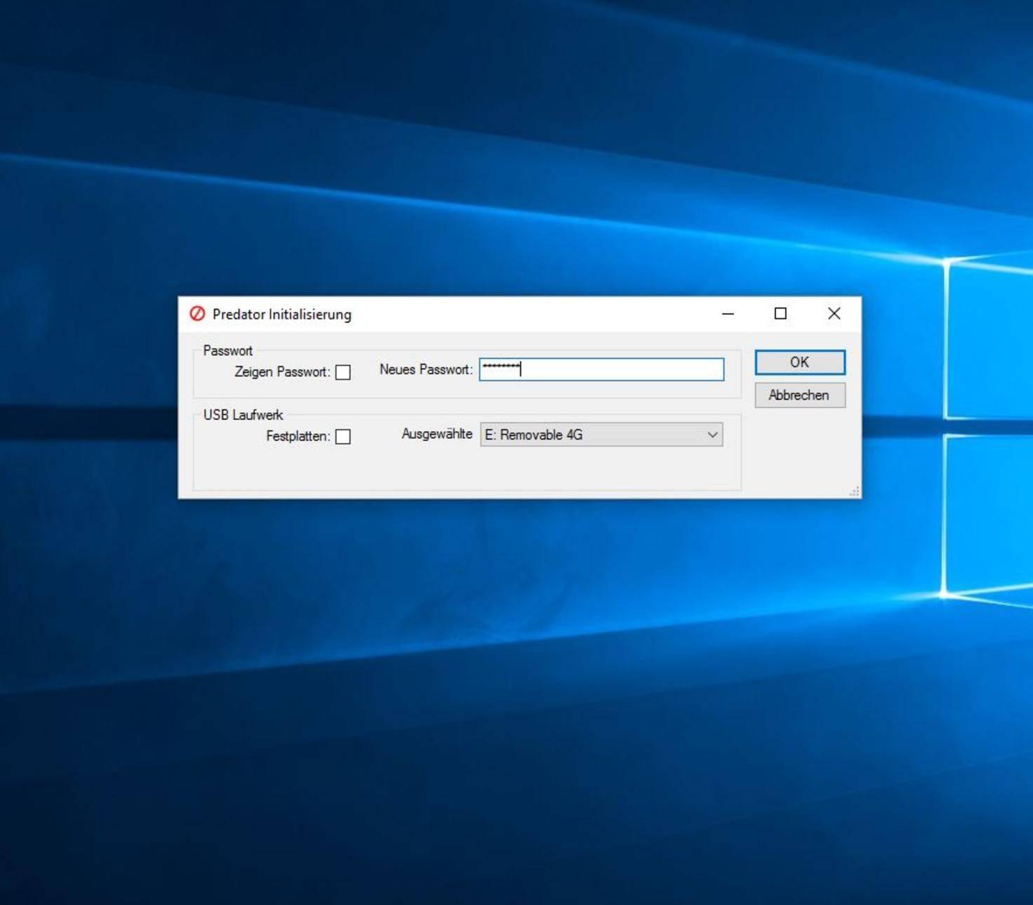 Predator nutzt den USB-Stick, um Deinen PC zu verschlüsseln.