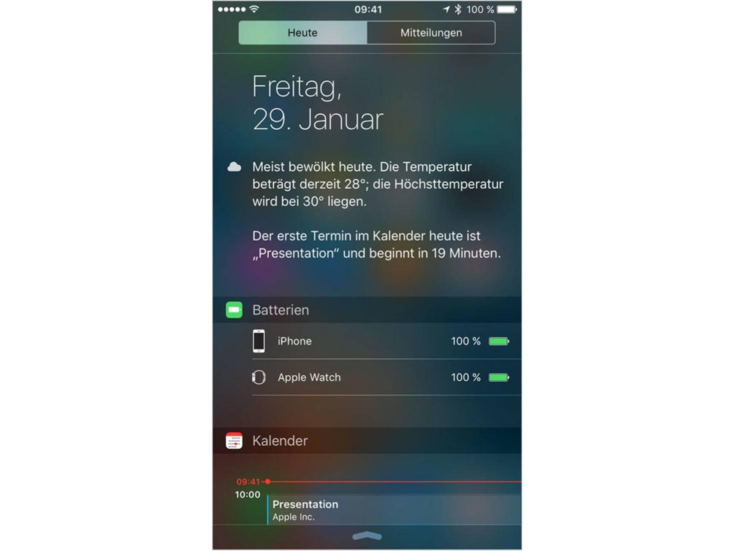 iOS-Mitteilungszentrum