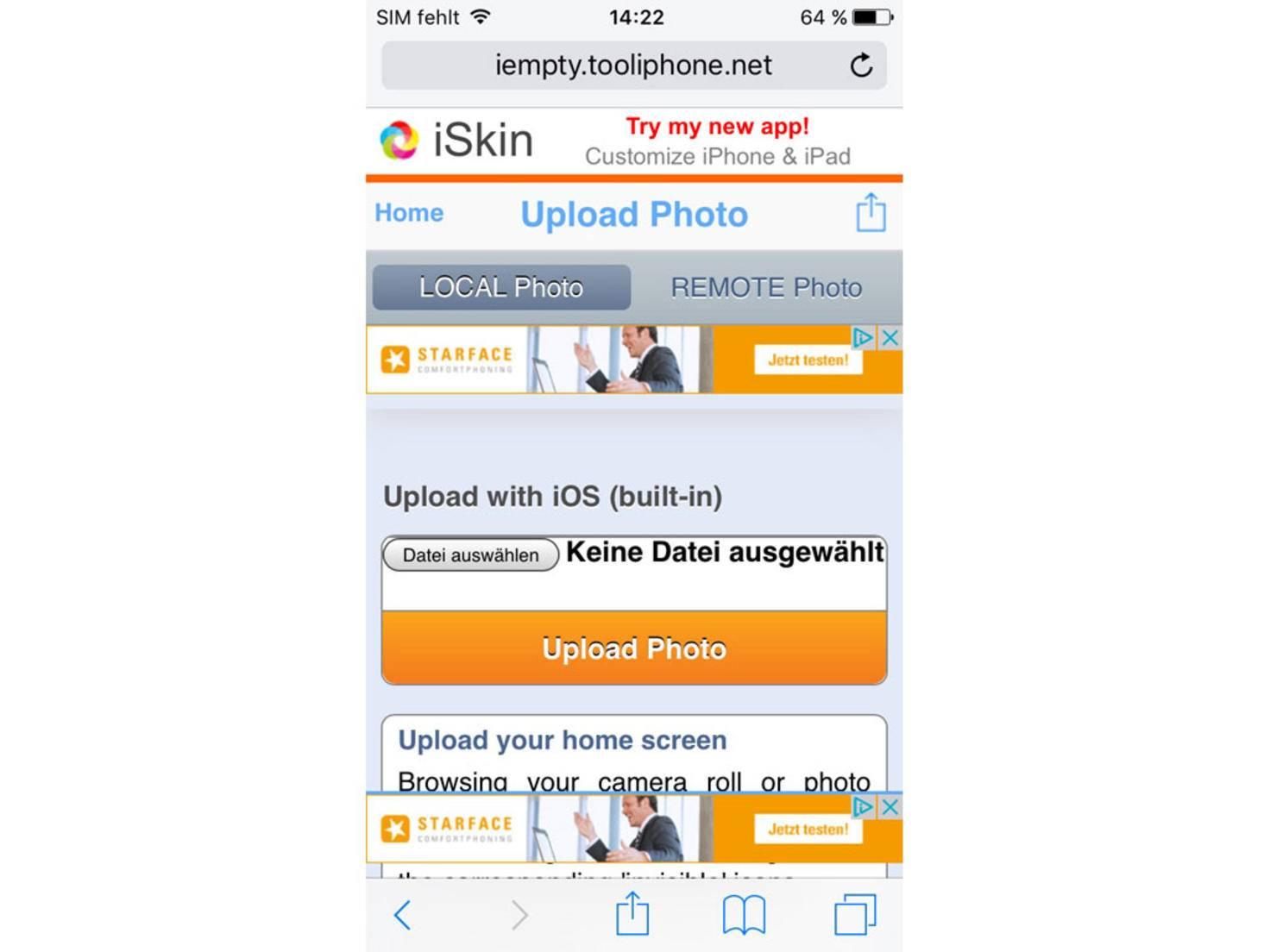 """Klicke """"Datei auswählen"""", um den Screenshot hochzuladen."""