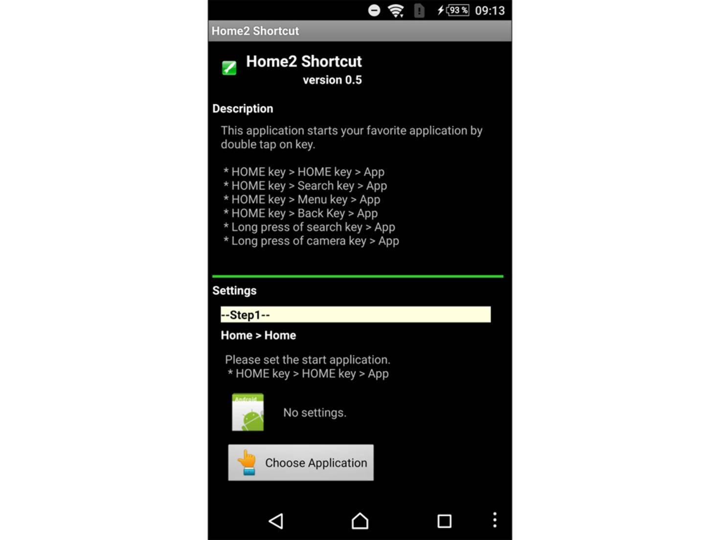 """Als Erstes wird die App für den Shortcut durch Tippen auf """"Choose Application"""" ausgewählt."""