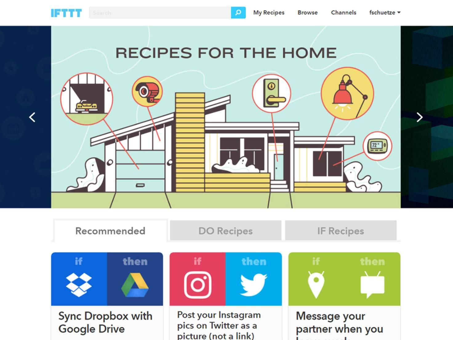 Account anlegen und Rezepte erstellen geht mit IFTTT ganz einfach.