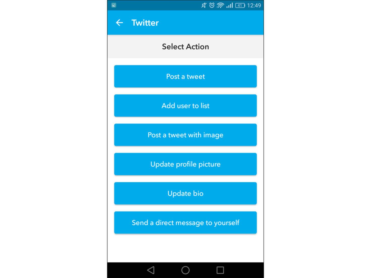 """Wählst Du als Aktion """"Update profile picture"""" ändert sich Dein Twitter-Profilbild immer analog zu dem bei Facebook."""