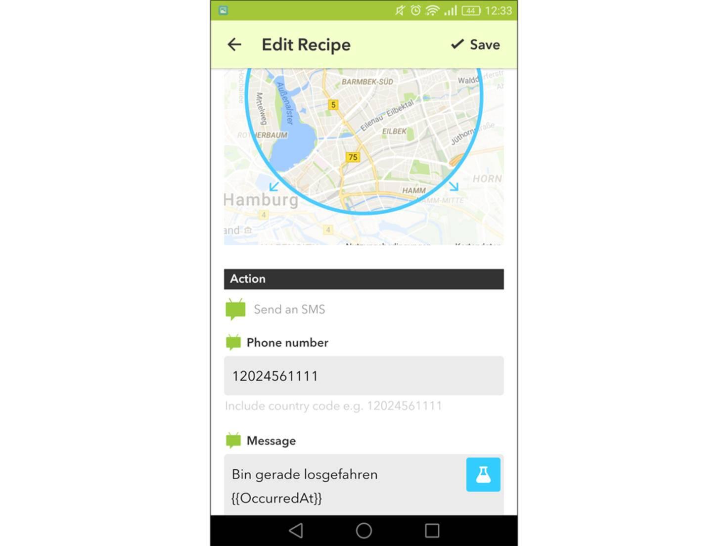 lass die App Deinem Partner eine Nachricht schreiben, dass Du jetzt Feierabend hast.
