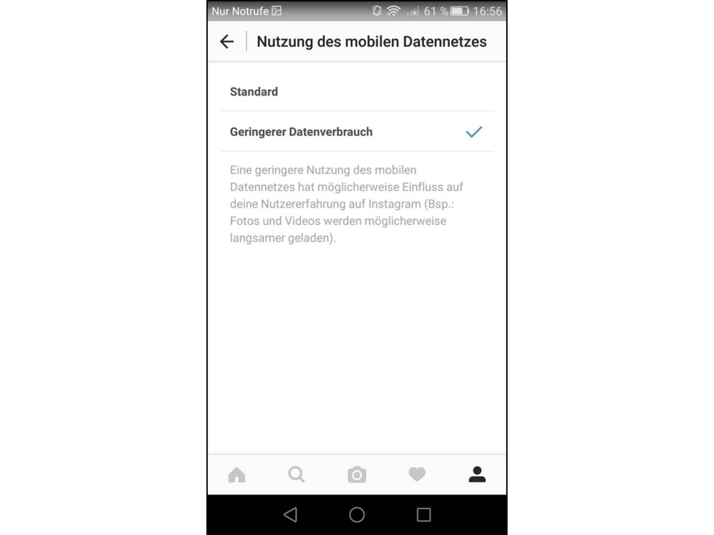 Instagram_Datenvolumen
