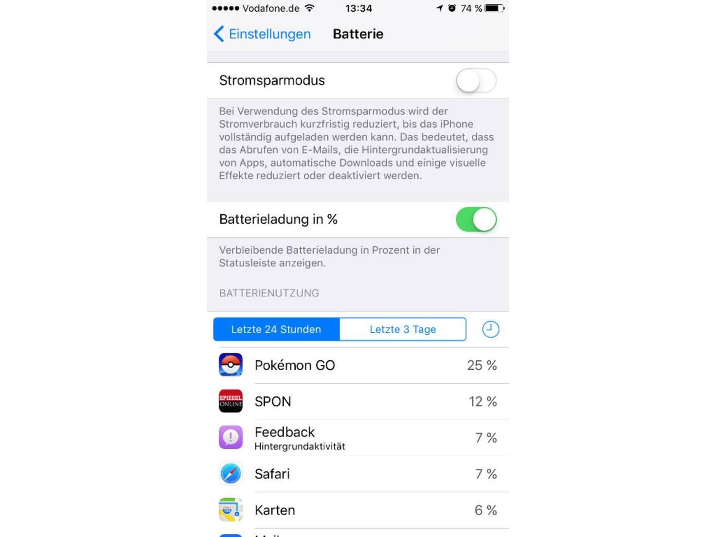 iOS 10 Batterie Einstellungen