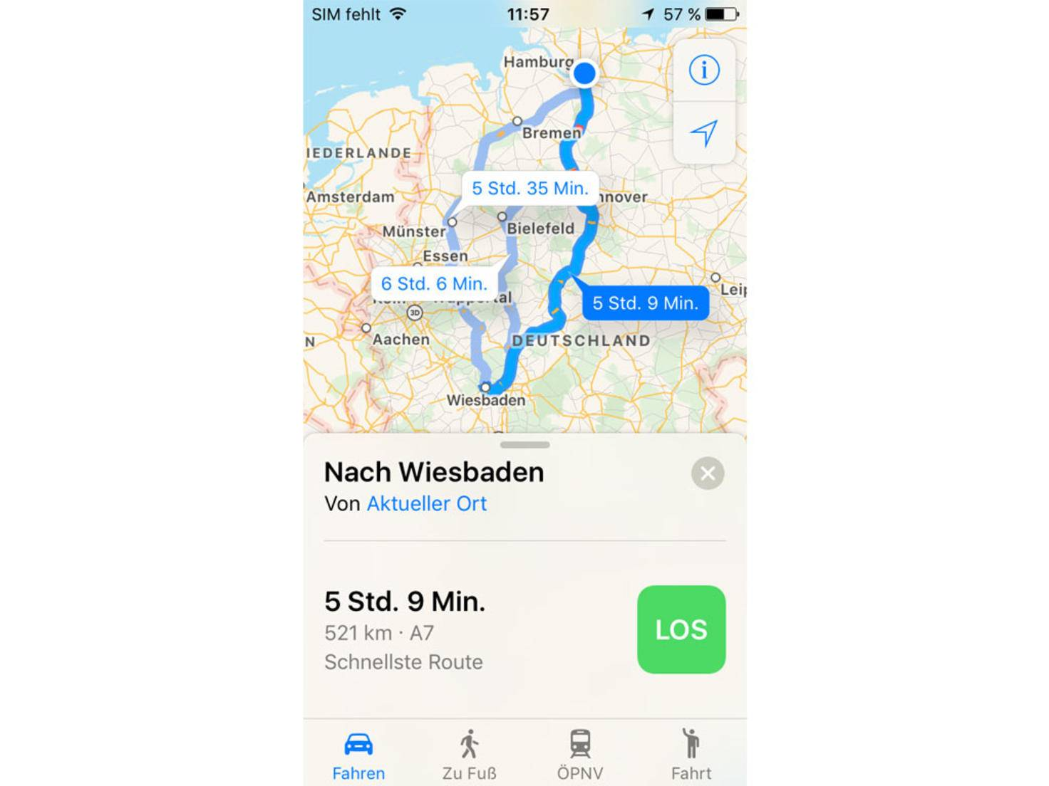 Das Design der Karten-App wurde leicht modifiziert...