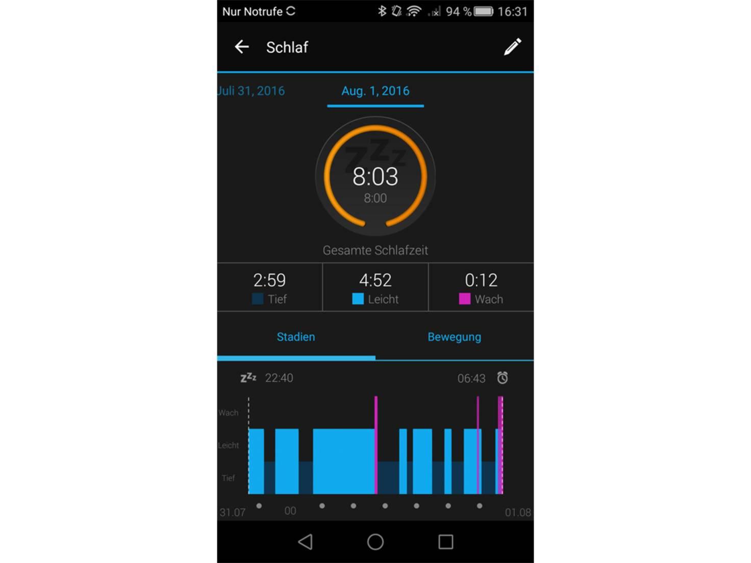 Die Schlafüberwachung beherrschen andere Wearables besser.