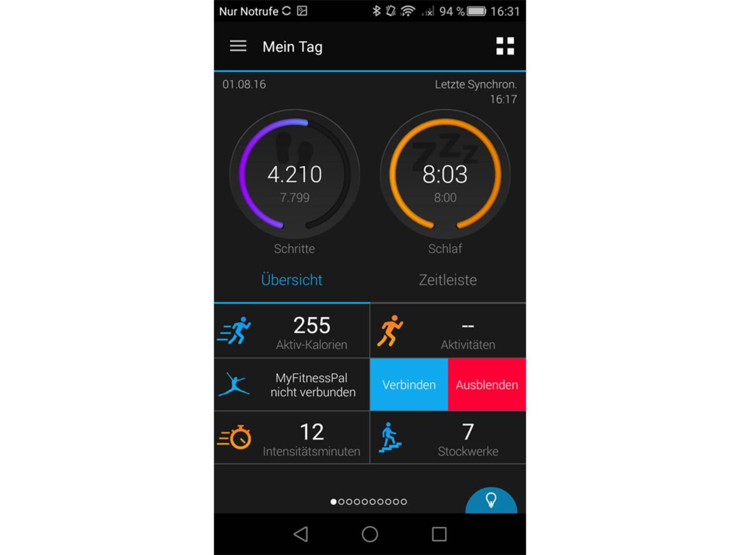 Anlaufstelle für umfangreiche Auswertungen ist die Garmin Connect Mobile App.