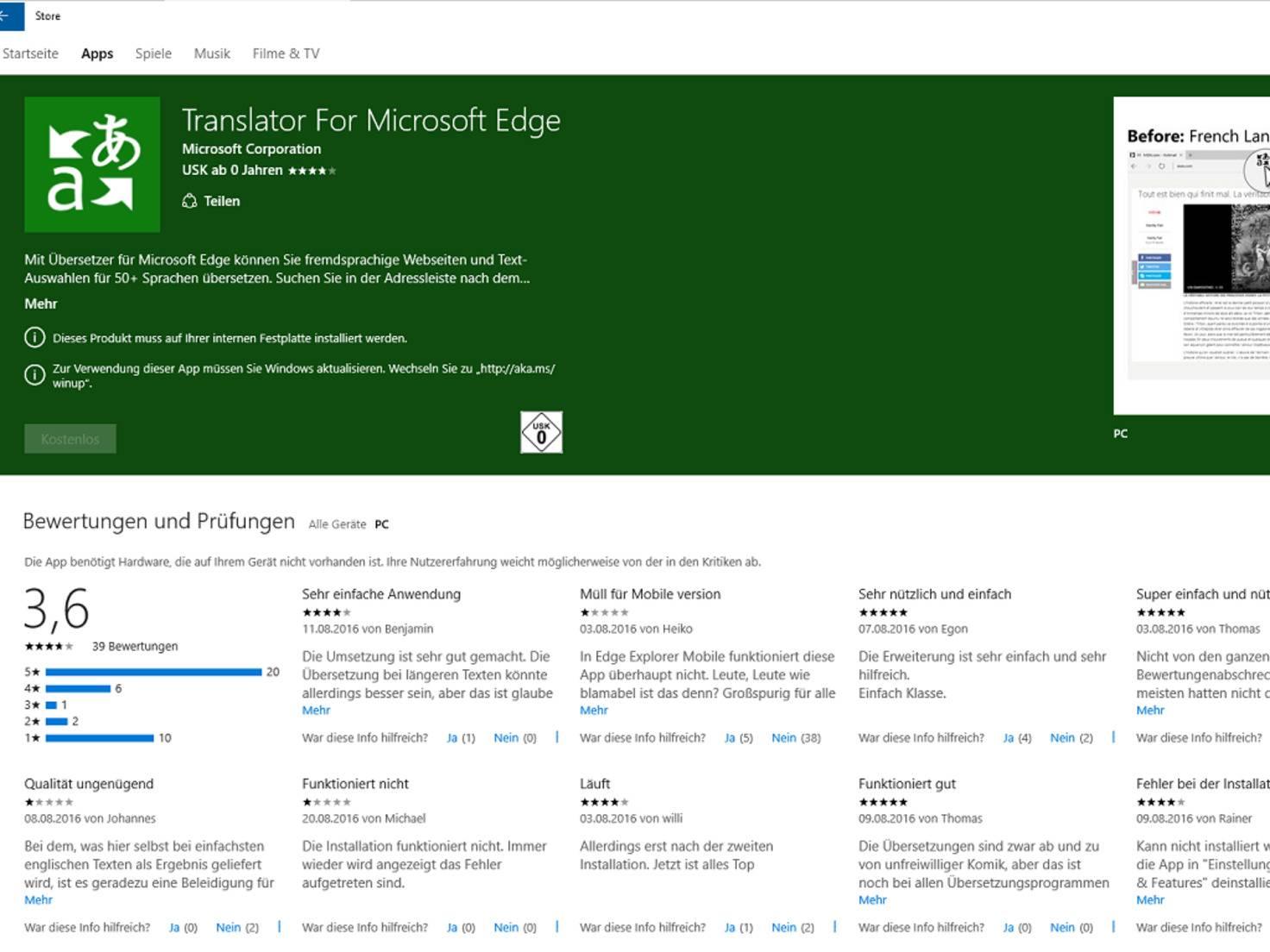 Microsoft Edge Erweiterungen