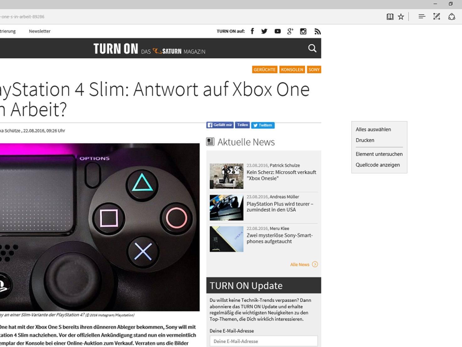 Microsoft Edge Kontextmenü