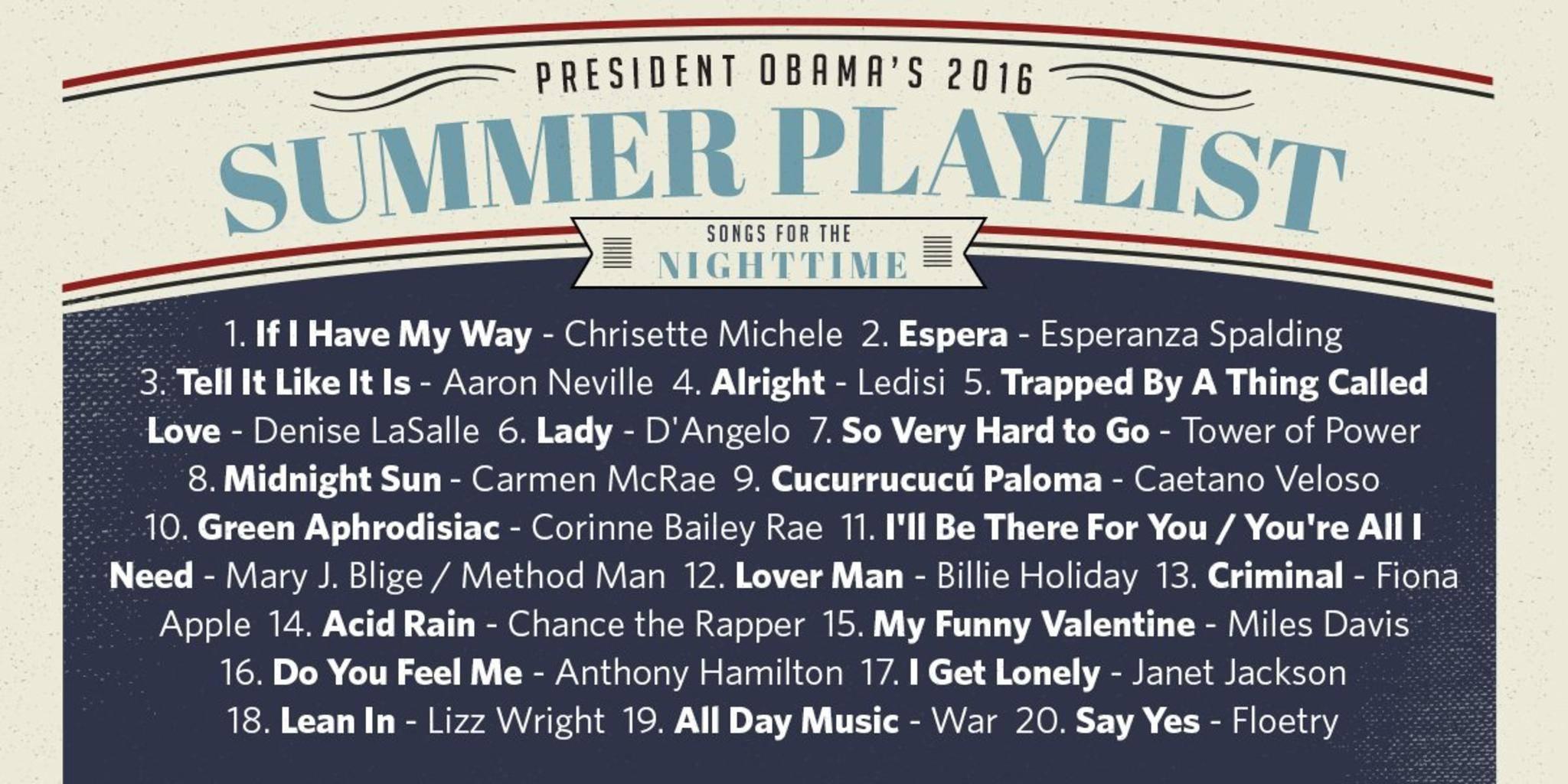 Wie die Spotify-Playlist zeigt, bevorzugt Barack Obama nachts eher ruhigere Töne.