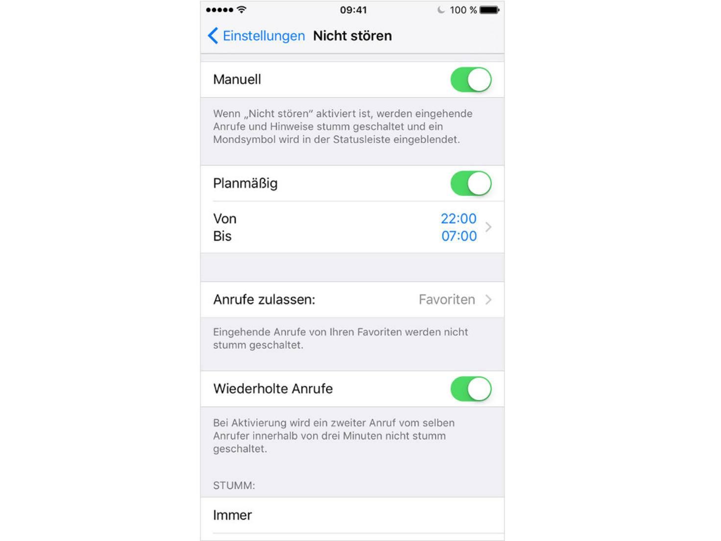iOS Nicht stören Planmäßig