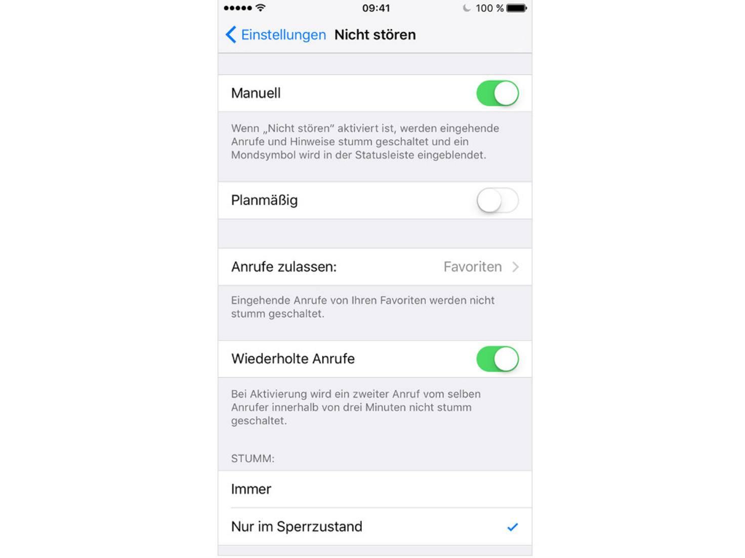 iOS Nicht stören