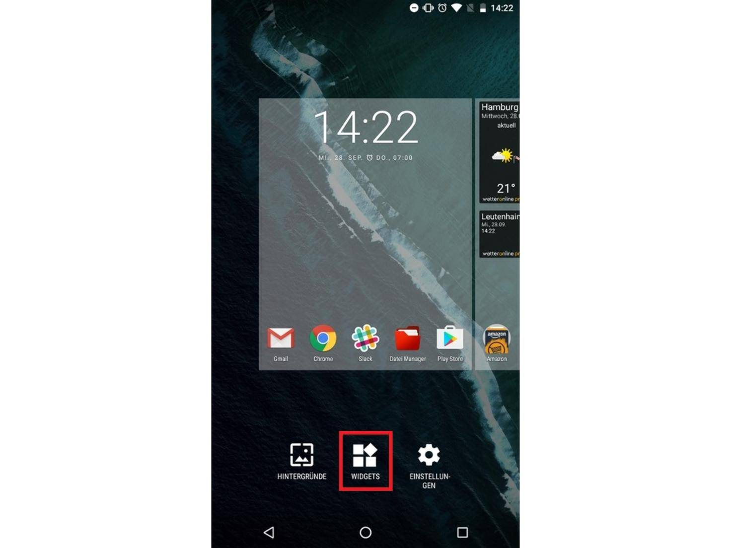 """Das Widget gibt es in Android 7.0 Nougat unter """"Widgets""""..."""