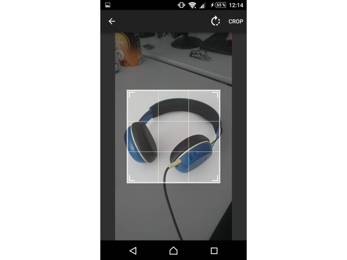 Über das Kamera-Symbol fotografieren wir unsere Kopfhörer.