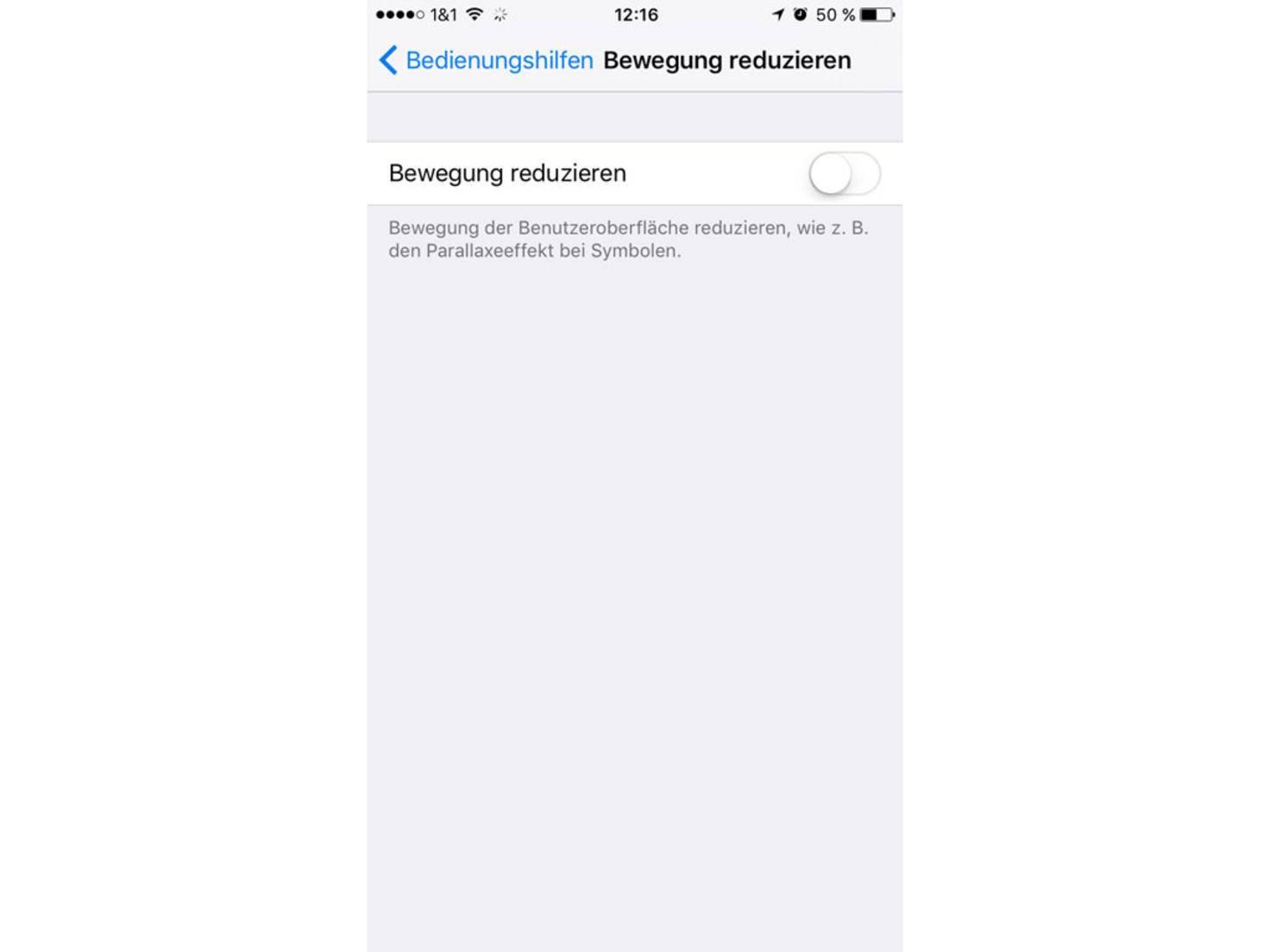 iOS 10 Bewegung reduzieren