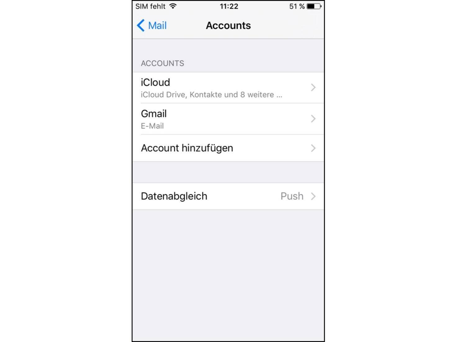 Auch neue Accounts können hier angelegt werden.