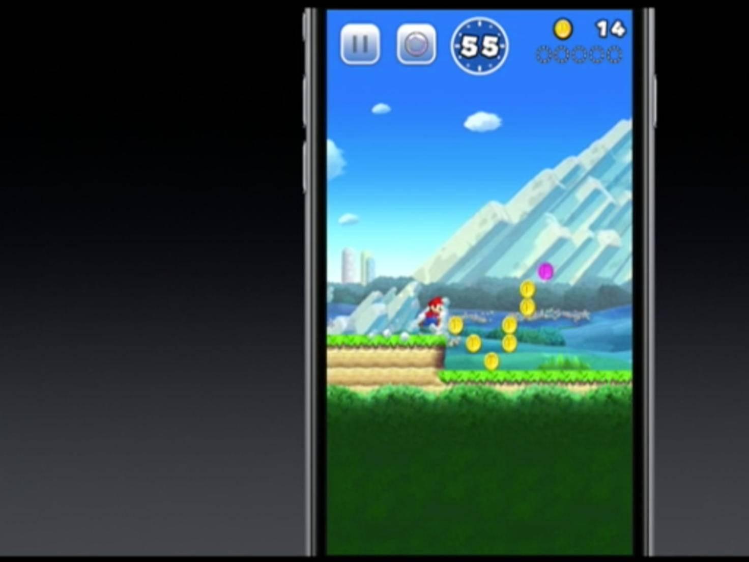 Per Display-Tap bestimmt ihr, wie hoch Super Mario springen soll.
