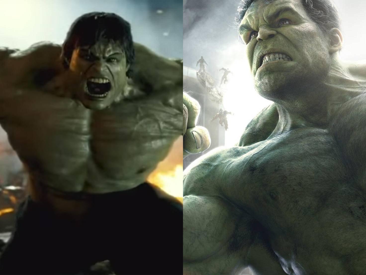 Hochmut kommt vor dem Fall. Edward Norton (links als Hulk) kann ein Lied davon singen. Mark Ruffalo (rechts als Hulk) freut's.