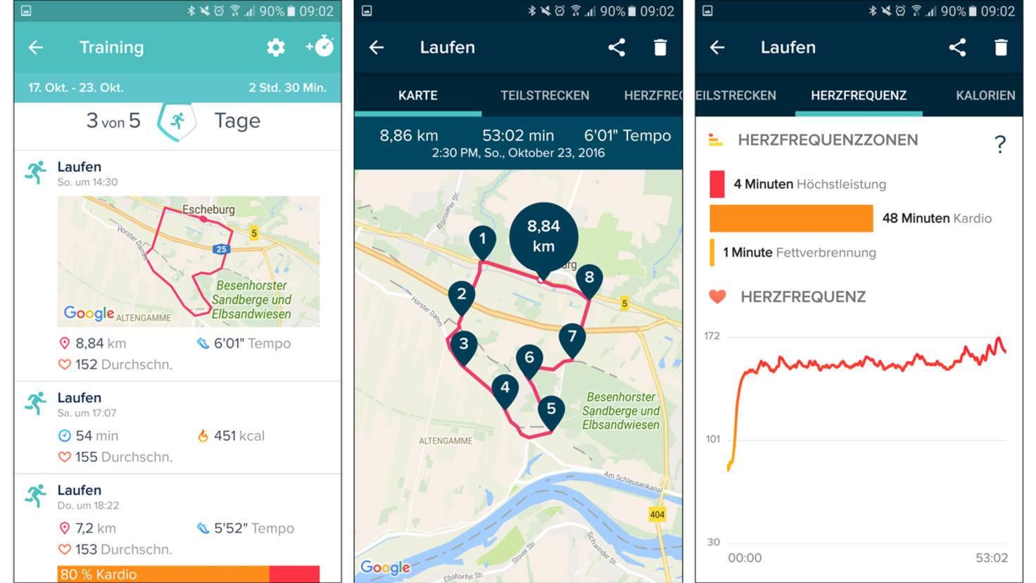 Wenn der Tracker mit dem Handy verbunden ist, können Laufrunden auch per GPS mitverfolgt werden.