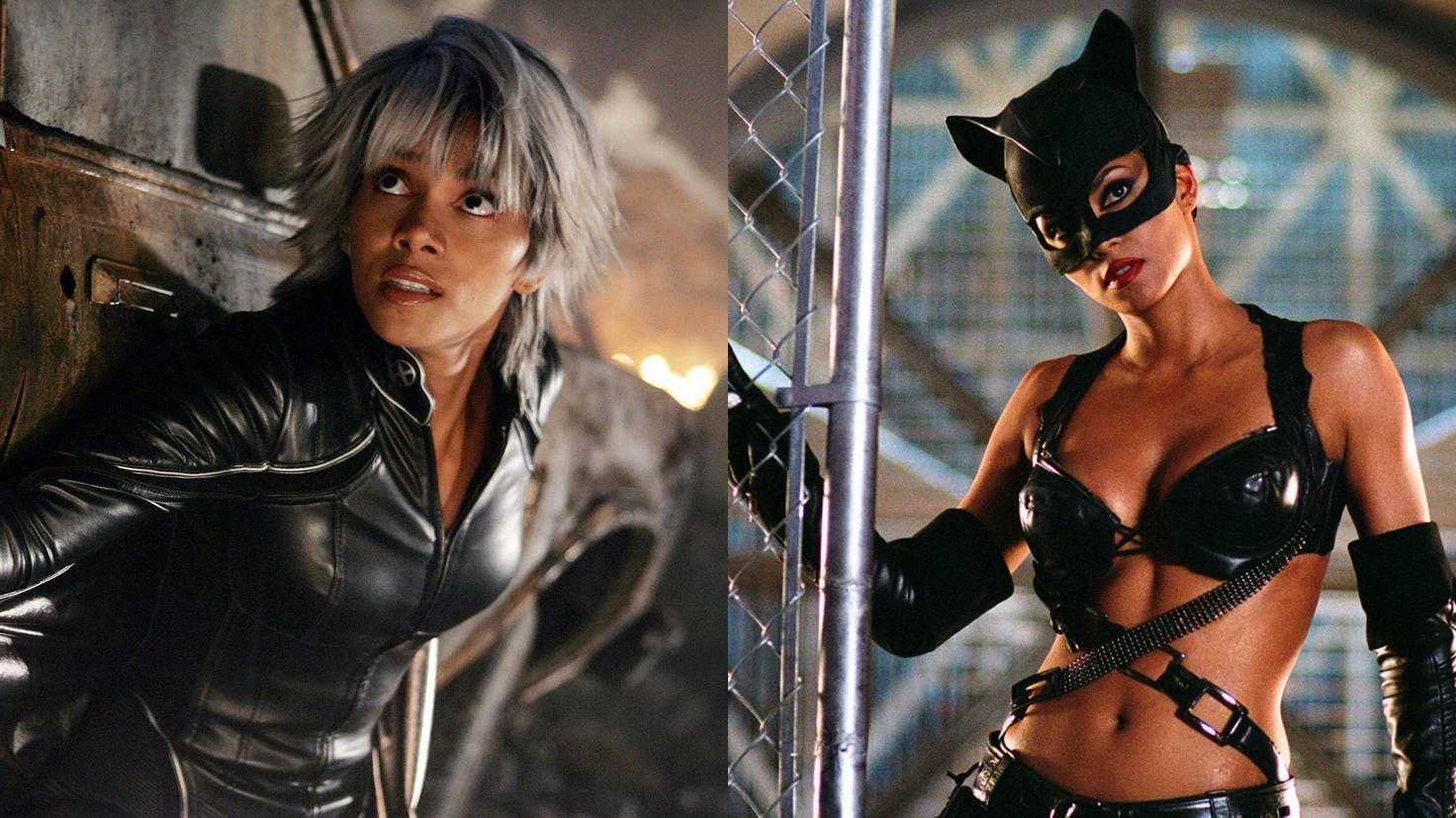 Halle Berry scheint auf Superheldinnen in schwarzem Leder zu stehen.