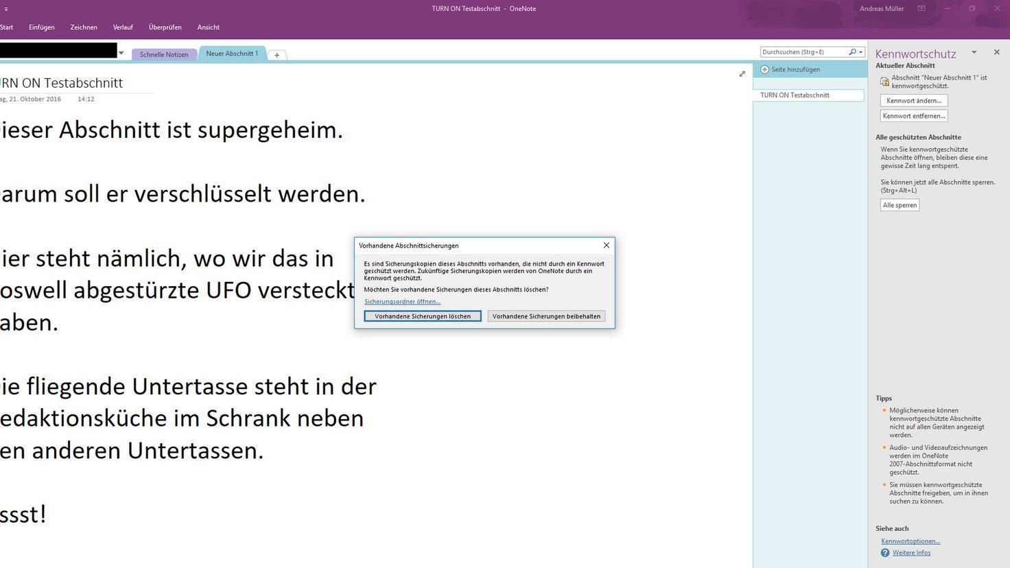OneNote TURN ON Testabschnitt Microsoft Kennwortschutz